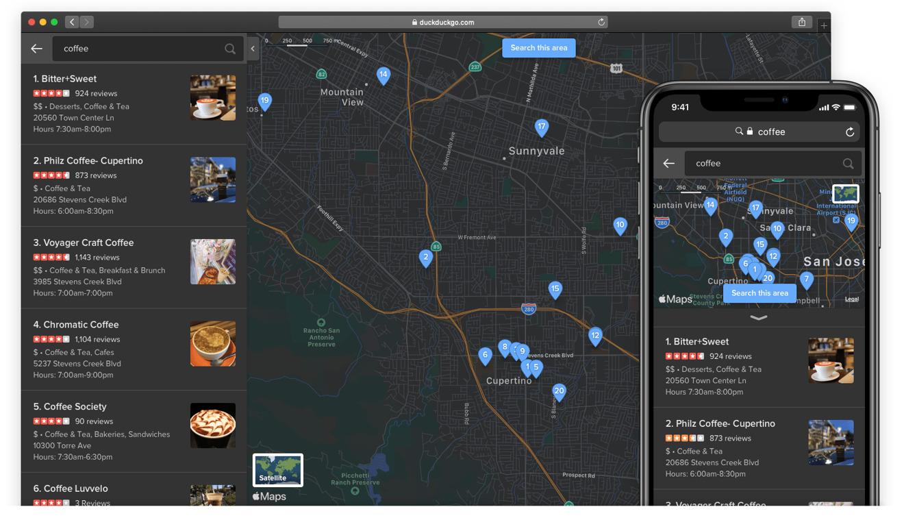 DuckDuckGo dark mode map