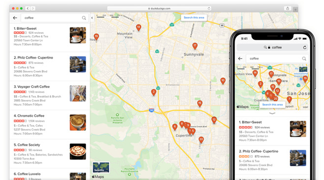 DuckDuckGo utilizes Apple MapKit JS to improve search features