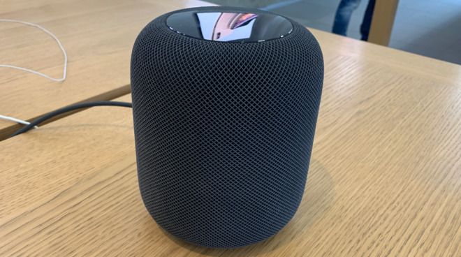 A HomePod on show in an Apple Store