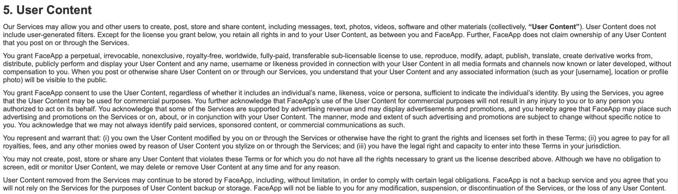 FaceApp's terms of service as of July 17, 2019