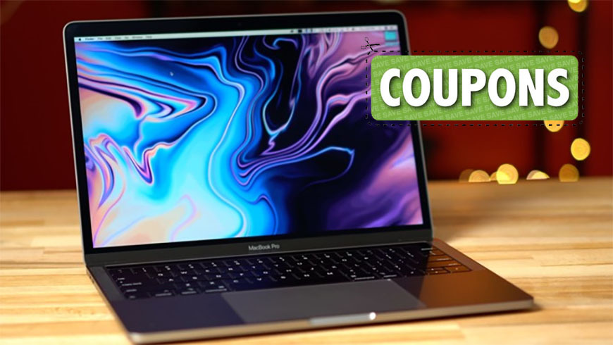 Apple 13 inch MacBook Pro with coupon graphic