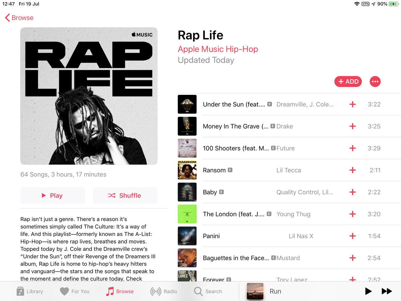 The Rap Life playlist in Apple Music