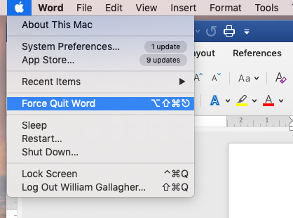 Under the Apple menu there's Force Quit... which opens a dialog and highlights whichever app you were in.
