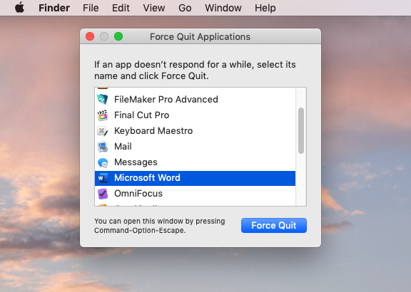 There is absolutely no reason why we have chosen to use Word as our example of apps that need force quitting