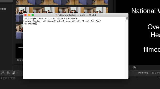 Just to show we're not picking on Microsoft Word, here's how to use Terminal to force quit Apple's Final Cut Pro X.