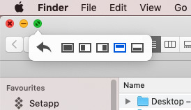 Hover over the green button and Moom pops up a menu offering to move the window to the sides.