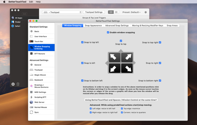 BetterTouchTool has radically increased its window management features