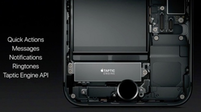 An Apple presentation slide showing the Taptic Engine in an iPhone