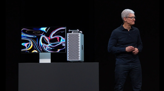 Apple CEO Tim Cook with the new Mac Pro