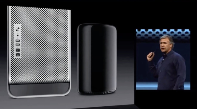 Phil Schiller reveals the size of the 2013 Mac Pro compared to the previous model.