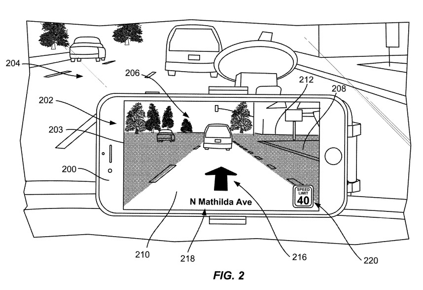 Apple's proposed solution resembles an iPhone mounted to the front of the vehicle cabin