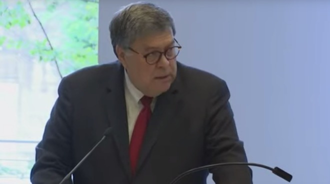 US Attorney General William Barr recently speaking about encryption