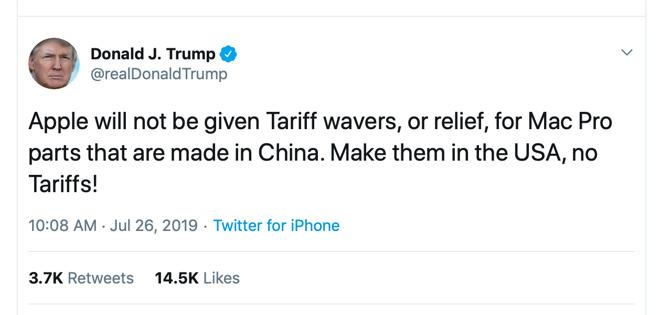 Tweet by President Donald Trump in regards to Apple's Mac Pro tariff waiver