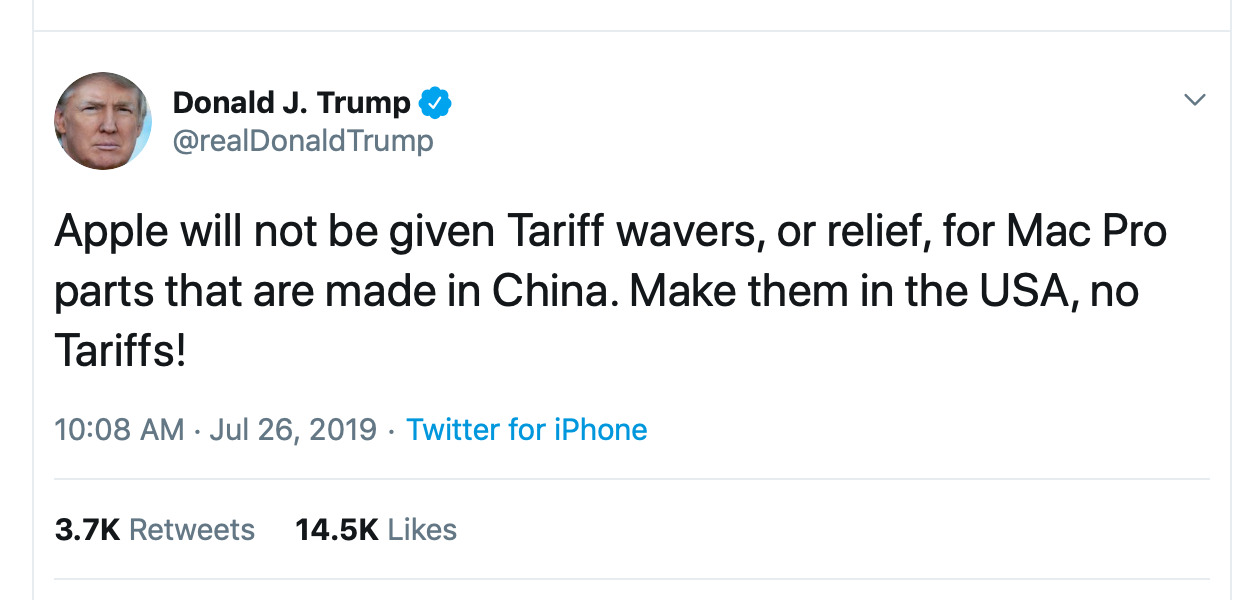 Tweet by President Donald Trump in regards to Apple's Mac Pro tariff waiver