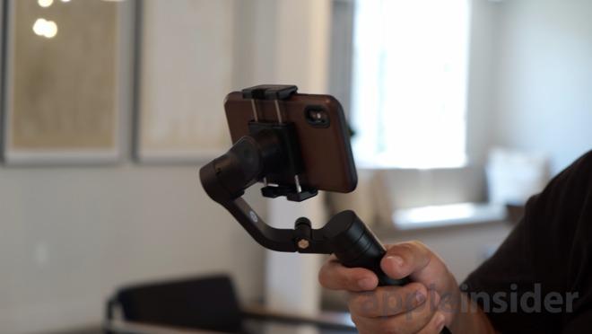 Feiyu Vlog Pocket with Nomad leather case on iPhone XS