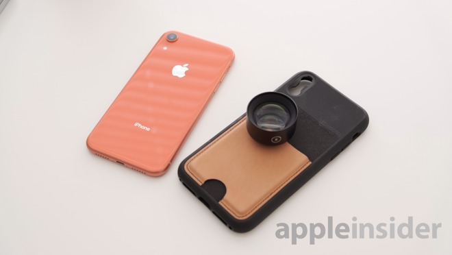 iPhone XR with Moment Telephoto Lens and Wallet Case