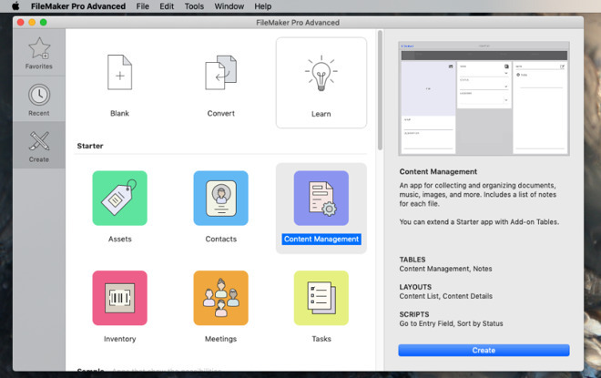 The latest version of FileMaker Pro has starter templates for getting you working quickly