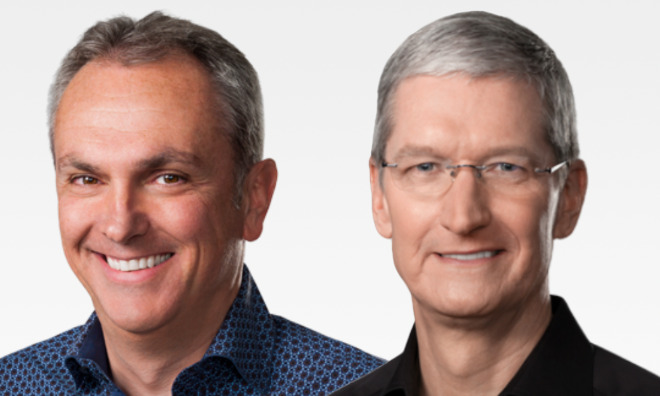 Crying all the way to the bank. Left: Apple CFO Luca Maestri, Right: CEO Tim Cook