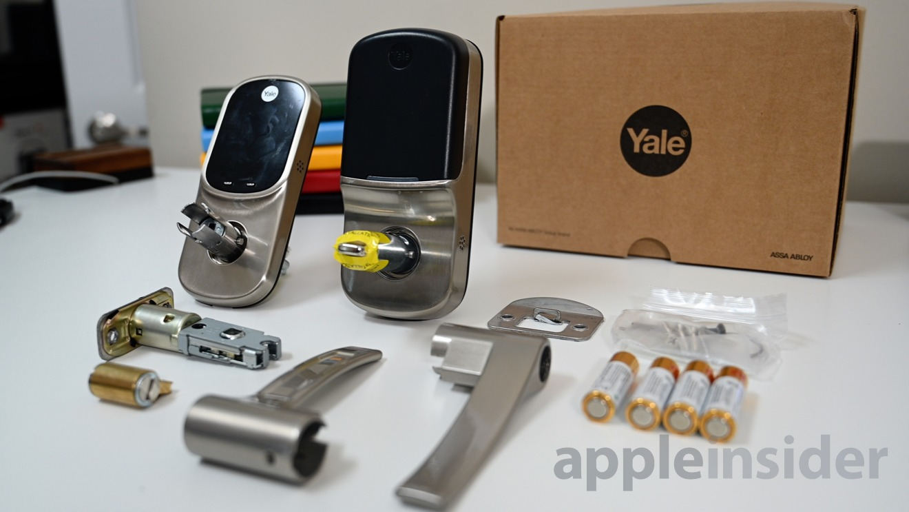 All of the parts for installing the Yale Assure Lever lock