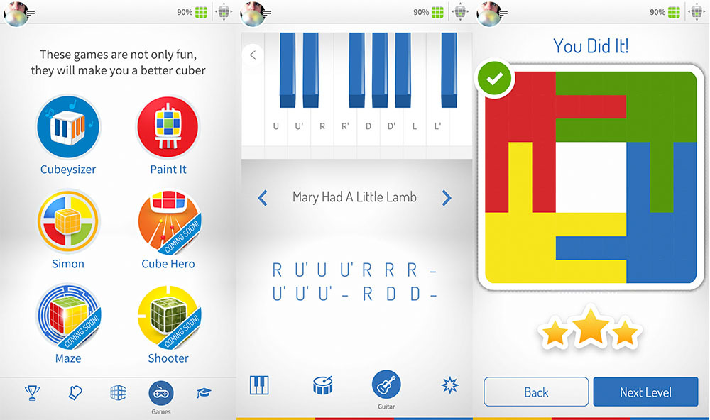 Games and toys within the GoCube app