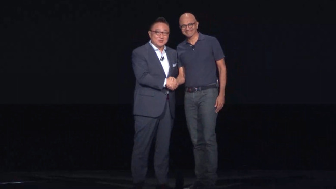 Samsung's DJ Koh (left) and Microsoft's Satya Nadella at Samsung Unpacked