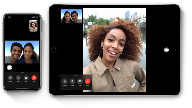 Apple's FaceTime technology on an iPhone and iPad