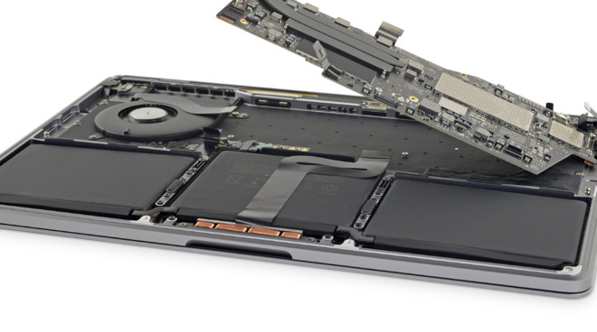 The battery inside a 13-inch MacBook Pro. (Photo: iFixit)