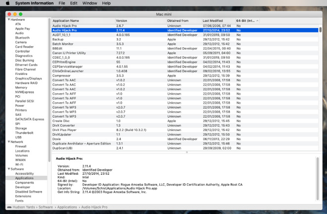 Every app on every connected drive your Mac has. Look for the last column, 64-bit (Intel).