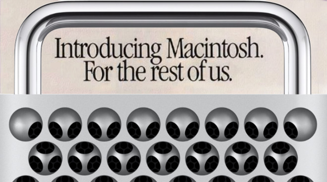 Mac Pro 2019 in front of an original 1984 ad for the first Macintosh.