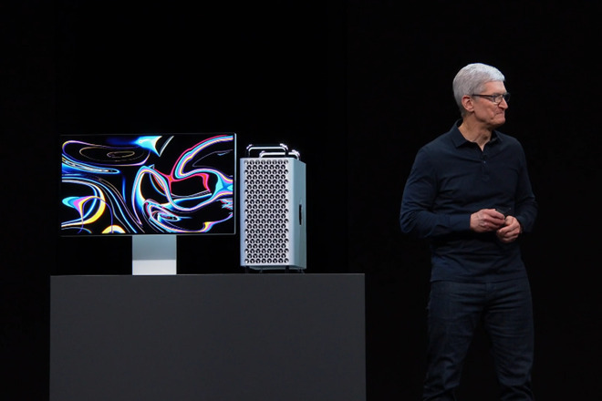Tim Cook looks to see whether anyone's waiting to buy the new Mac Pro. They are.