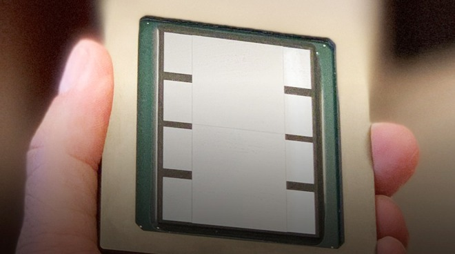 An example of TSMC's Chip on Wafer on Substrate technology, using the world's largest silicon interposer with space for two 600mm-squared processors and 8 HBM memory devices.