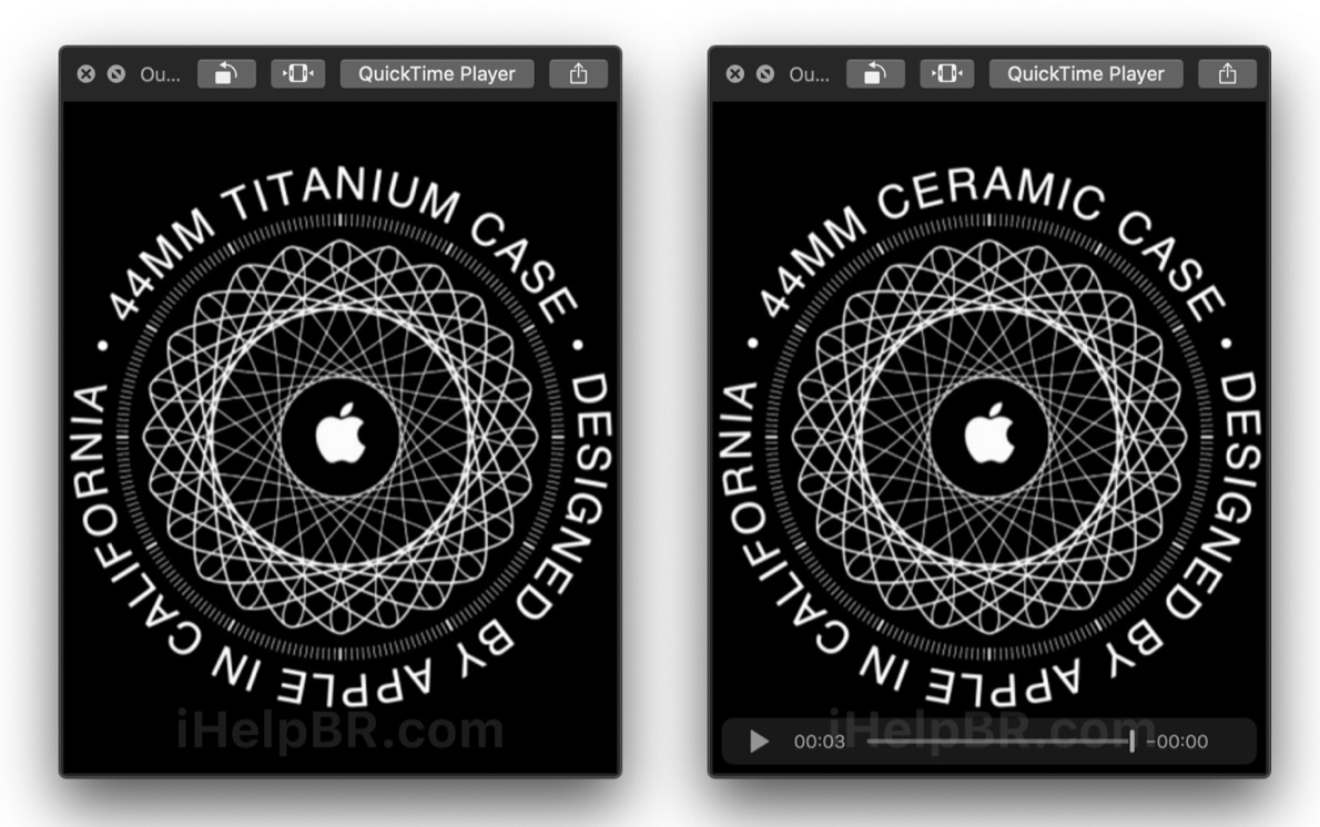 Titanium and ceramic Apple Watch setup screens from iHelpBR