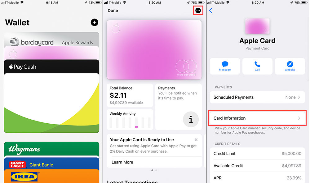 Step by step walkthrough of retrieving your Apple Card number