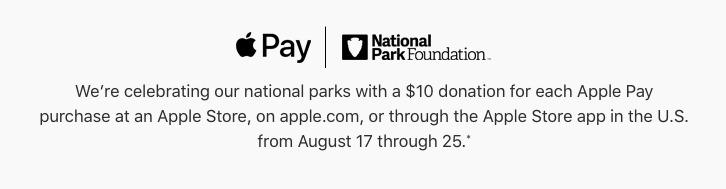 Apple Pay website National Parks Foundation notice