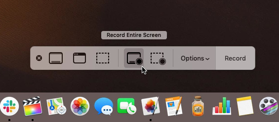 Command-Shift-5 brings up the Mac's screenshot and screen recording options