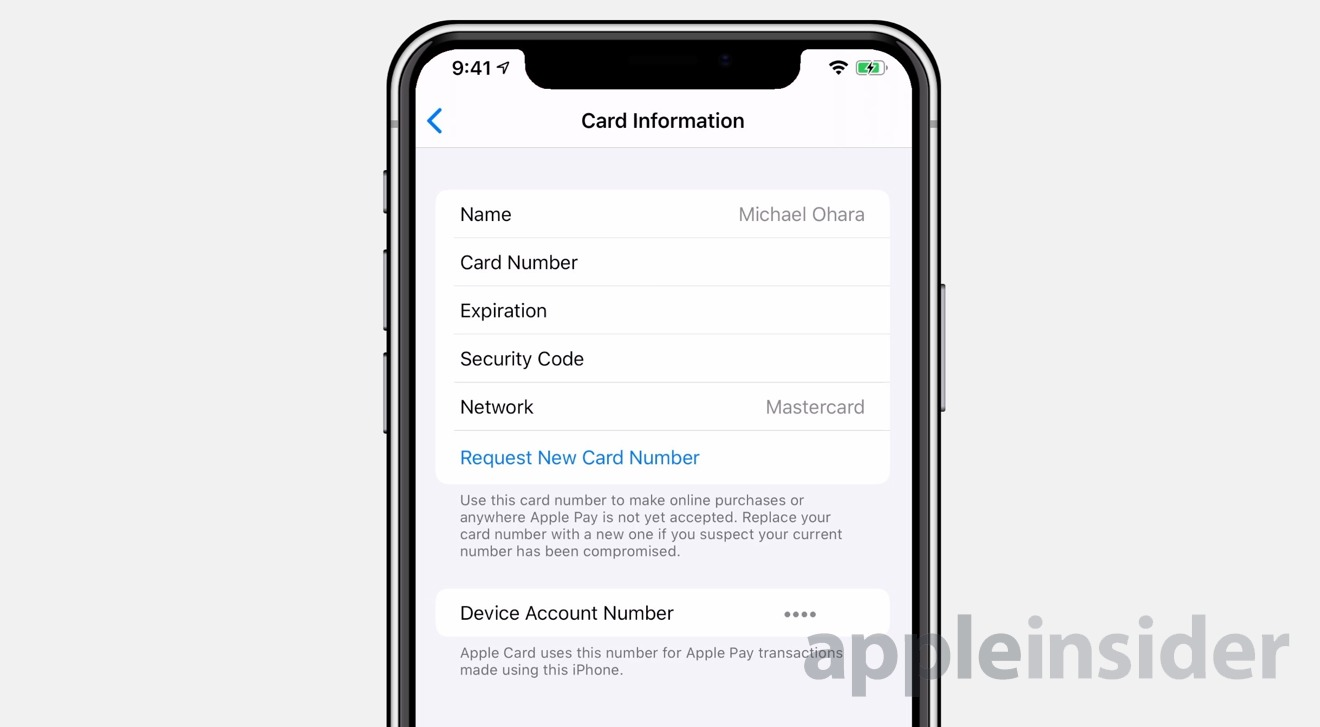 Request a new card number in Card Information