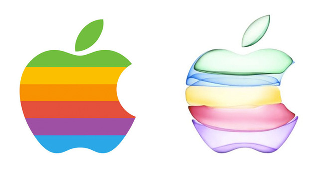 Apple's historic rainbow logo (left) next to the September event invitation image (right)