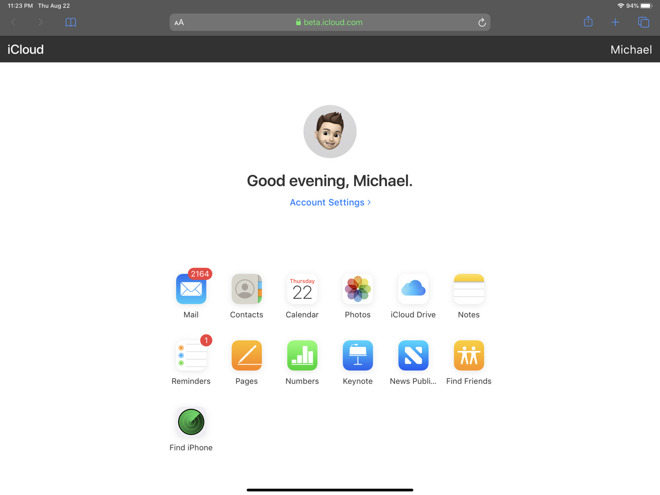 Updated beta site for iCloud