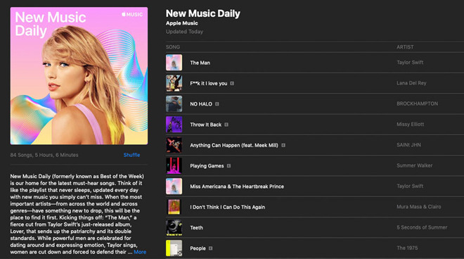 Apple refreshes top pop playlist, now called New Music Daily