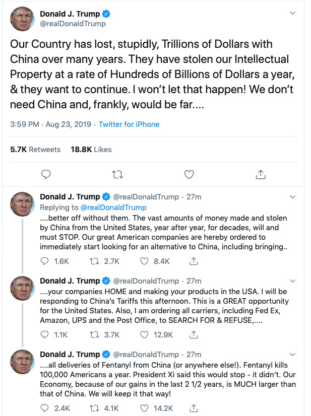 President Trump's tweets ordering US firms to exit China manufacturing