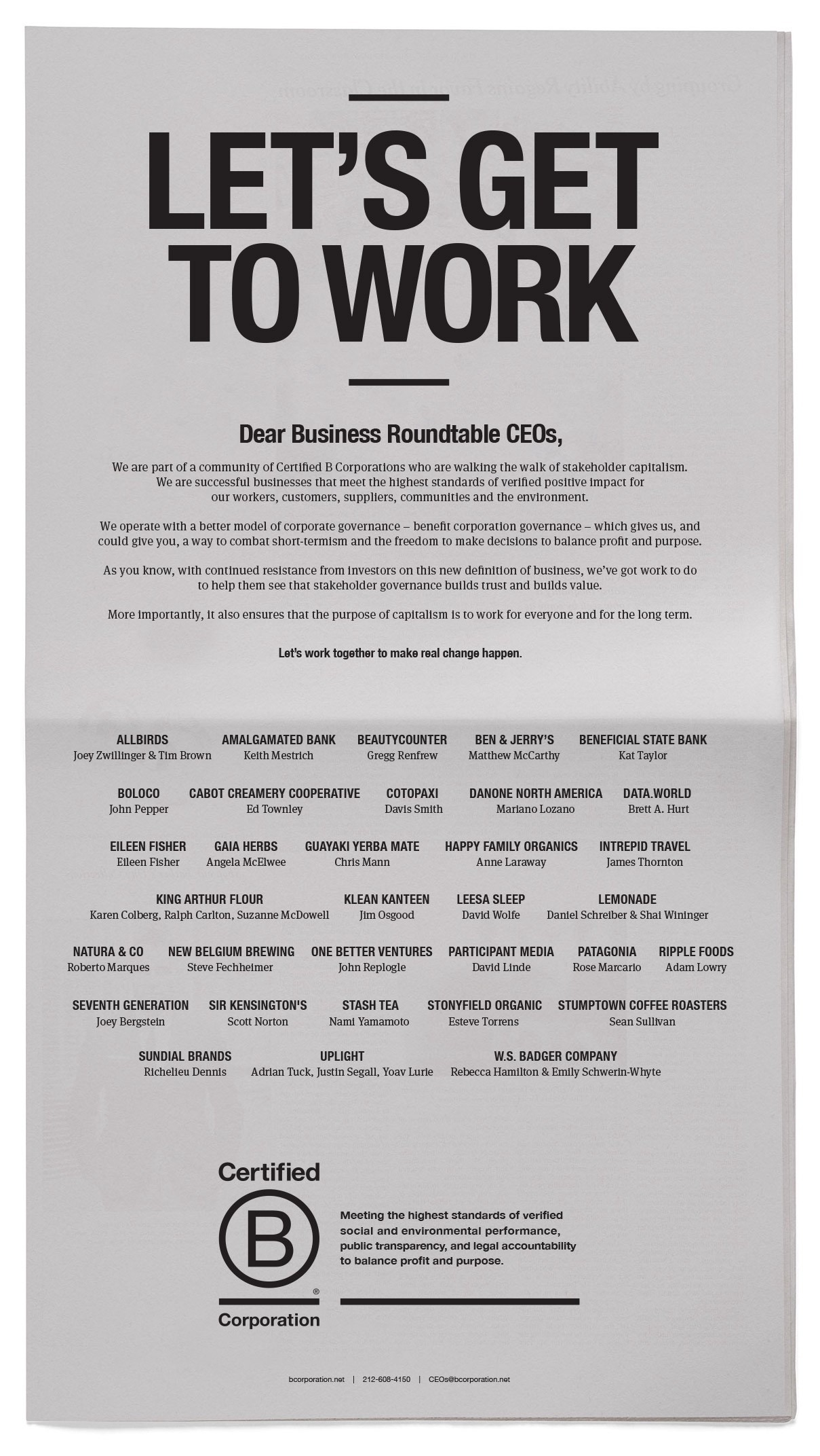 The full-page ad letter from B Corp chiefs to Business Roundtable CEOs.