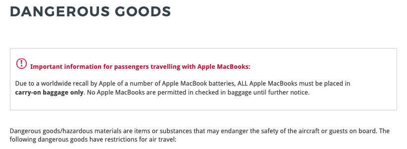 The warning on Virgin Australia's 'Dangerous Goods' baggage page