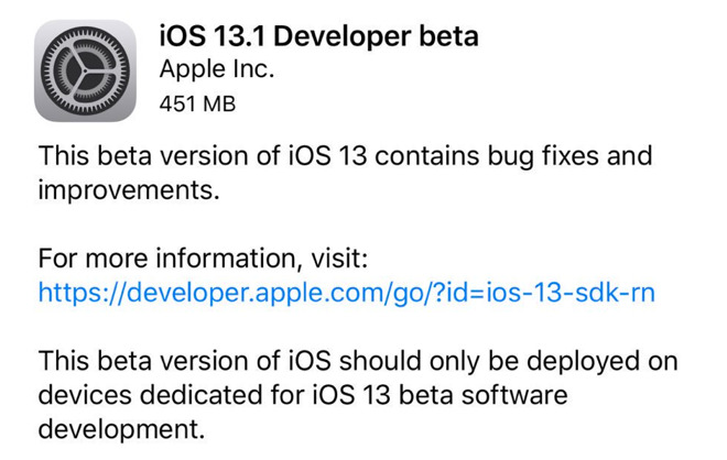 Apple makes iOS 13 1, iPadOS 13 1 developer betas available
