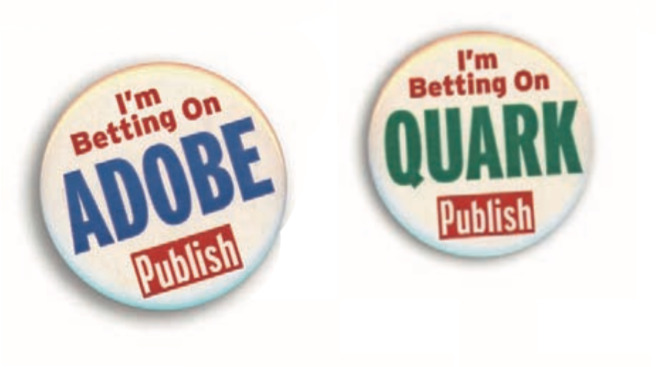 Visitors to the 1998 Seybold Conference had these badges. (Source: Pamela Pfiffner's book The Adobe Story)