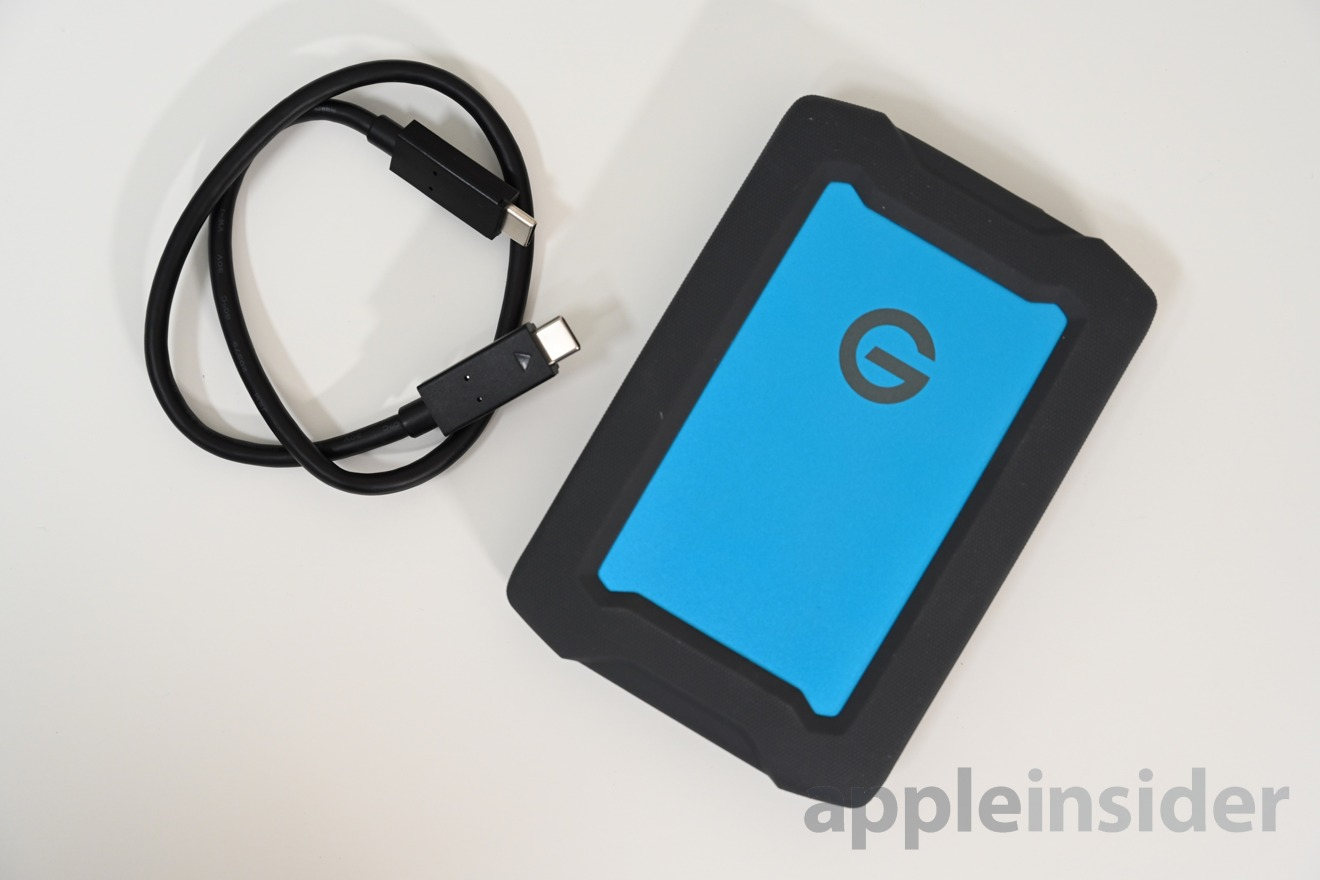 G|Drive ArmorATD has a USB-C cable with a USB-A adapter