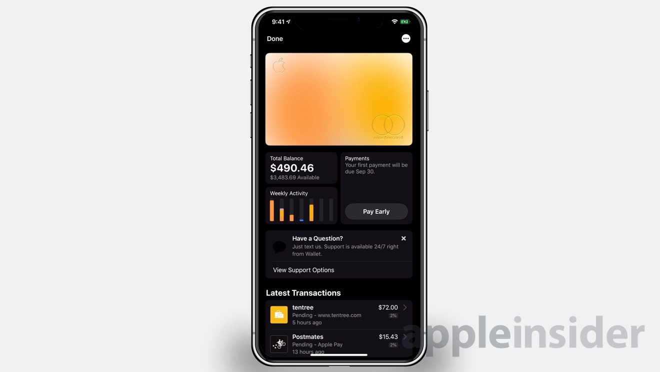 Apple Card works with the Wallet app