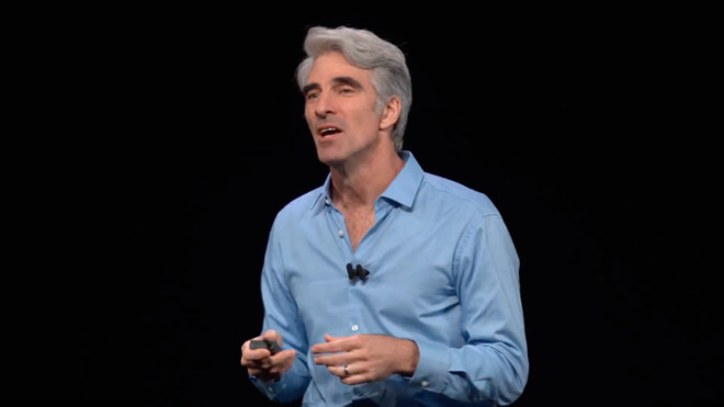 Craig Federighi introducing the topic of Catalyst at WWDC 2018