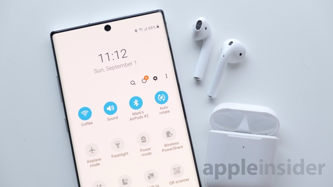 Connected: AirPods 2 connected to Samsung's Galaxy Note 10+
