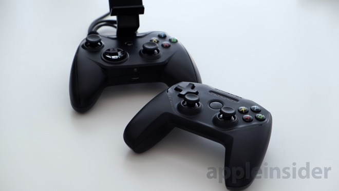 SteelSeries Nimbus next to Rotor Riot's Wired gaming controller