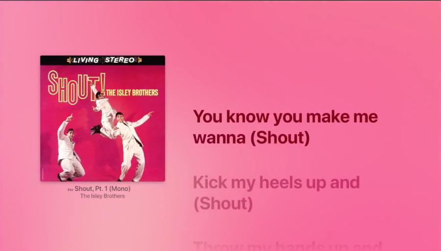 Apple Music on Apple TV now displays lyrics synced to the singing